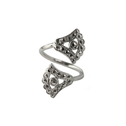 Sterling Silver Double Moonlight Lotus Ring ,[product vendor],JewelStreet