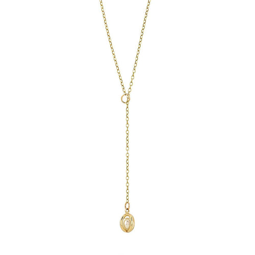 Yellow Gold Caged Pearl Lariat Necklace