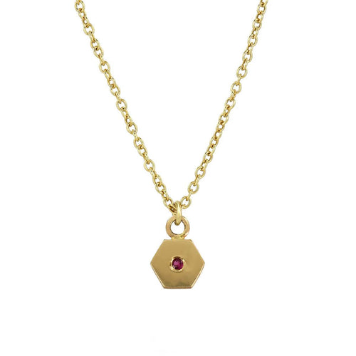 Yellow Gold Hex Charm Necklace
