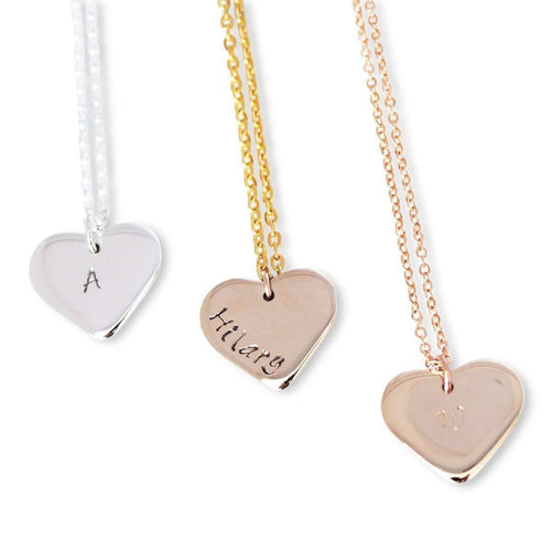 Personalised Love Heart Necklace, 9kt Yellow Gold-Hilary&June-JewelStreet EU