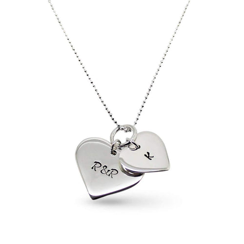 Sterling Silver Personalised Double Love Heart Necklace ,[product vendor],JewelStreet