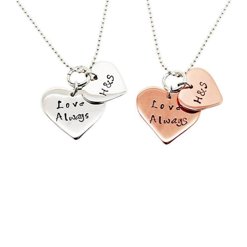 Personalised Double Love Heart Necklace, Rose 9kt Gold-Hilary&June-JewelStreet EU