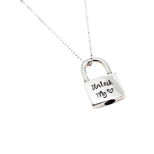 Personalised Padlock Sterling Silver Script Necklace ,[product vendor],JewelStreet