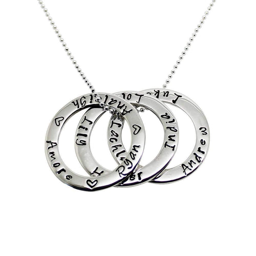 418546614 Sterling Silver Personalised Triple Circle Of Love Necklace ...