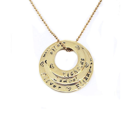 Circle Of Love Stack 9kt Gold Necklace-Hilary&June-JewelStreet EU