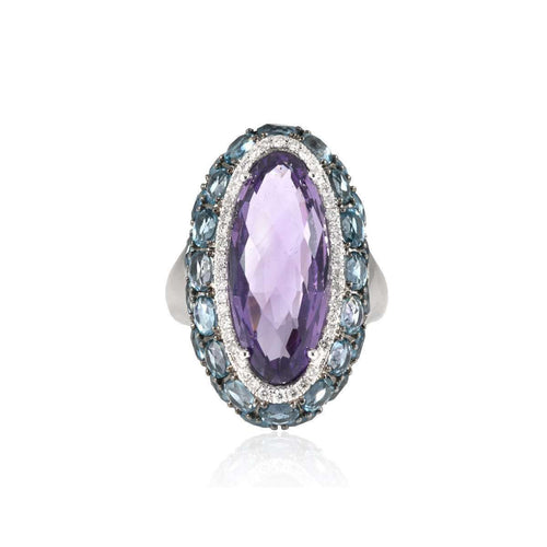Sarah White Gold Amethyst Ring ,[product vendor],JewelStreet