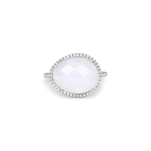 Rhodium Plated Silver Solitaire Rainbow Moonstone Ring