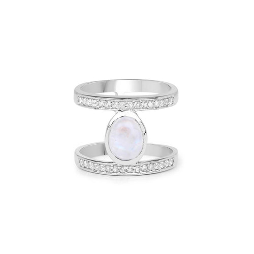 Rhodium Plated Silver White Rainbow Moonstone Fashion Ring