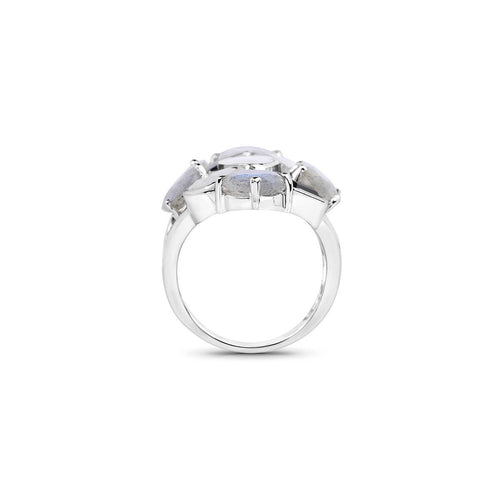 Rhodium Plated Silver Cluster Rainbow Moonstone Ring