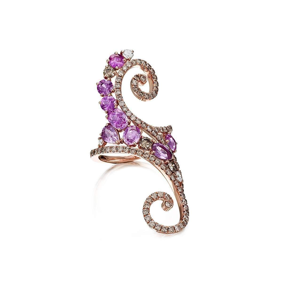 Rose Gold, Diamond & Sapphire Ramage Collection Ring Pinomanna