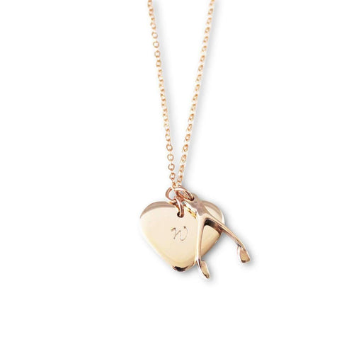 Personalised Lucky Necklace 9kt Rose Gold-Hilary&June-JewelStreet EU