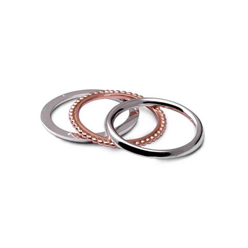 Silver & 9kt Rose Gold Twist Ring ,[product vendor],JewelStreet