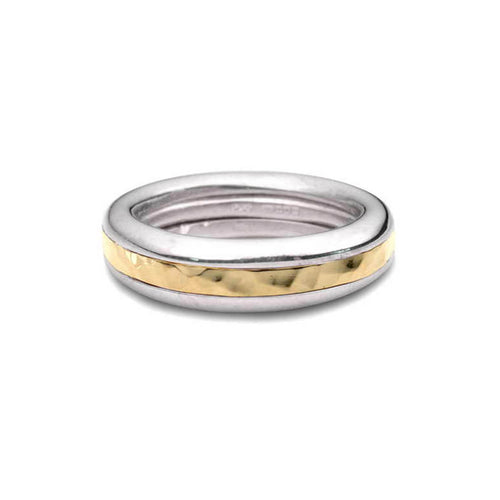 Silver & 9kt Yellow Gold Twist Ring ,[product vendor],JewelStreet