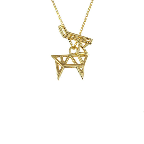 Sterling Silver & Gold Frame Deer Origami Necklace