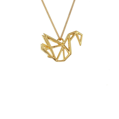 Sterling Silver & Gold Frame Swan Origami Necklace