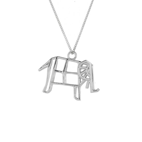 Sterling Silver Frame Elephant Origami Necklace