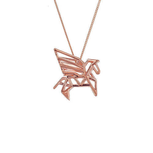 Sterling Silver & Pink Gold Frame Pegaze Origami Necklace