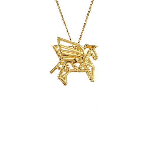 Sterling Silver & Gold Frame Pegaze Origami Necklace