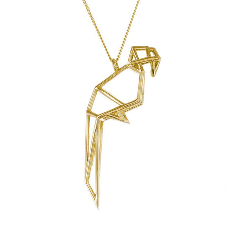 Sterling Silver & Gold Frame Parrot Origami Necklace
