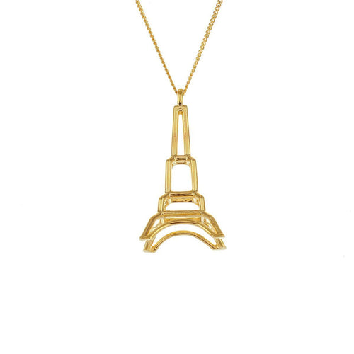 Sterling Silver & Gold Frame Eiffel Tower Origami Necklace