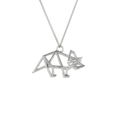 Sterling Silver Frame Triceratop Origami Necklace
