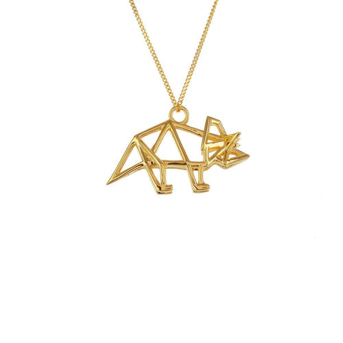 Sterling Silver & Gold Frame Triceratop Origami Necklace