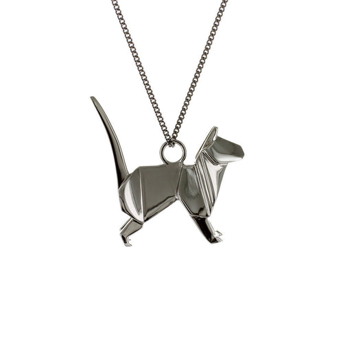 Black Silver Cat Origami Necklace