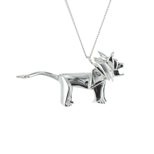Sterling Silver Lion Origami Necklace
