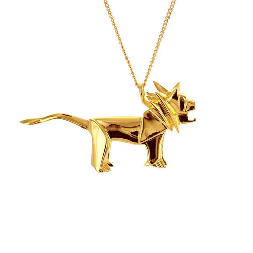 Sterling Silver & Gold Lion Origami Necklace