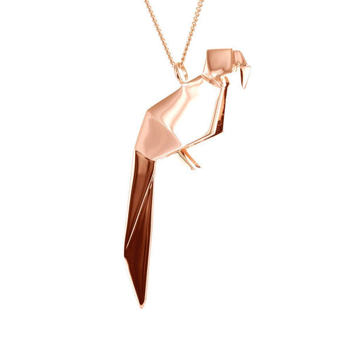 Sterling Silver & Pink Gold Parrot Origami Necklace