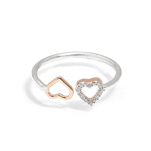 Yellow Gold, Silver & Diamond Open Heart Ring | Kaizarin ,[product vendor],JewelStreet
