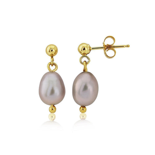 9kt Gold & Grey Pearl Drop Earrings ,[product vendor],JewelStreet