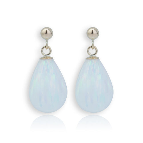 9kt Gold & Large White Opal Teardrop Earrings ,[product vendor],JewelStreet