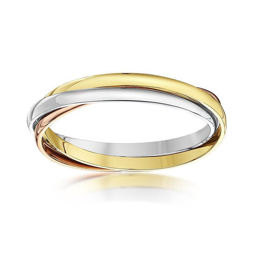 9kt Three Colour Gold Russian Wedding Ring (Available in Various Widths) ,[product vendor],JewelStreet