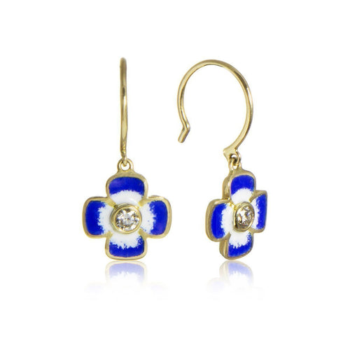 Anthea Diamond and Enamel Flower Earrings ,[product vendor],JewelStreet