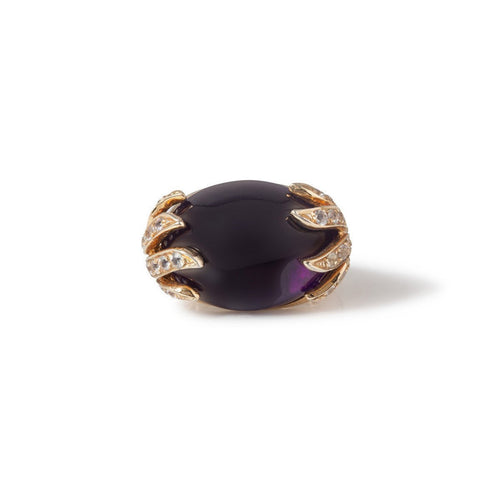 18kt Yellow Gold Aqua Ring With Amethyst & White Sapphire ,[product vendor],JewelStreet