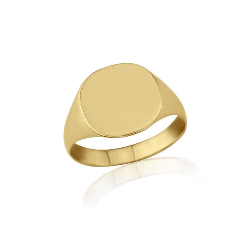 Cushion-shaped 9kt Yellow Gold Lightweight Signet Ring ,[product vendor],JewelStreet