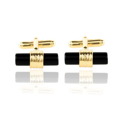 Cylindrical Cufflink Gold Black Onyx ,[product vendor],JewelStreet