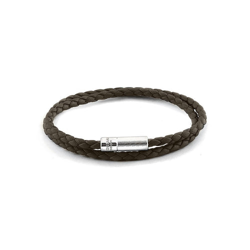 Silver & Brown Double Wrap Pop Rigato Bracelet ,[product vendor],JewelStreet