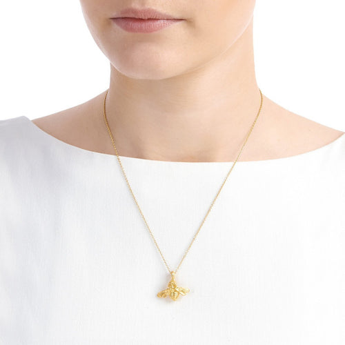 Gold Bee With White Sapphire Necklace ,[product vendor],JewelStreet