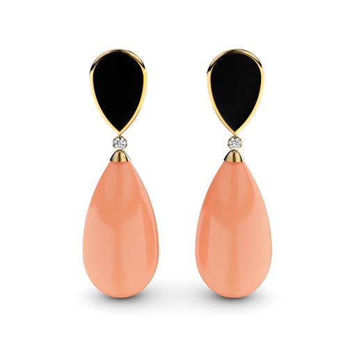 Gold Plated Silver, Diamond & Coral Earrings ,[product vendor],JewelStreet