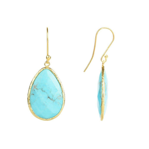 Gold Single Drop Earring in Turquoise ,[product vendor],JewelStreet