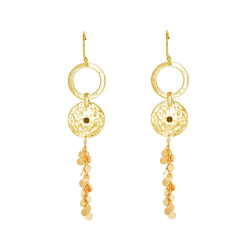 Gold & Black Spinel Grace Long Disc Earrings ,[product vendor],JewelStreet