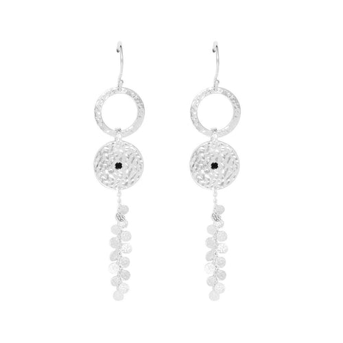 Sterling Silver & Black Spinel Grace Long Disc Earrings ,[product vendor],JewelStreet