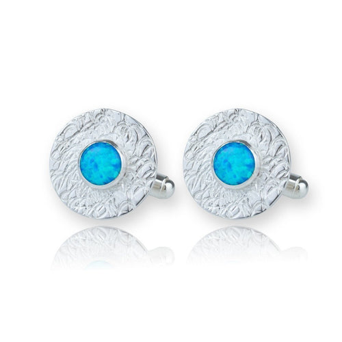 Hand Etched Sterling Silver & Blue Opal Cufflinks ,[product vendor],JewelStreet