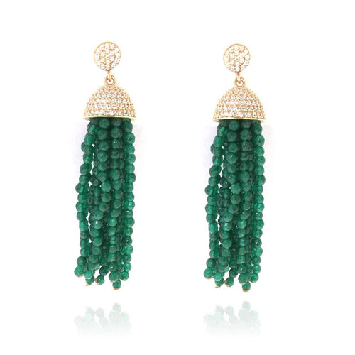 Jade Tassel Earrings ,[product vendor],JewelStreet