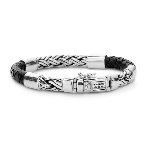 Katja Mix Silver and Leather Bracelet Black by Buddha To Buddha ,[product vendor],JewelStreet
