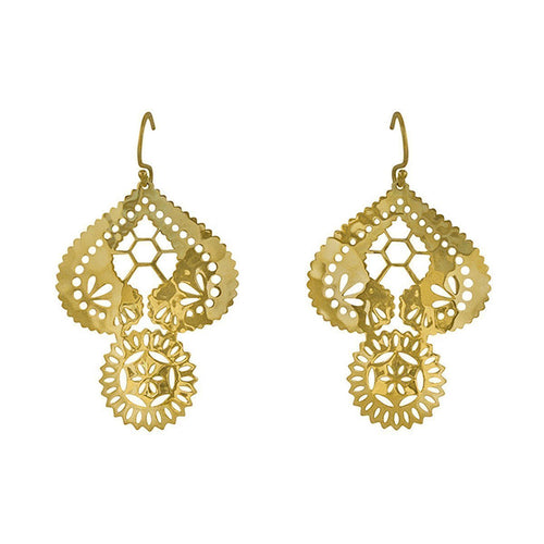 Gold Lace Doily Drop Earrings ,[product vendor],JewelStreet