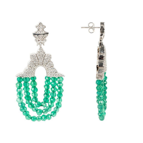 Marrakech Earring Green Onyx White Zircons ,[product vendor],JewelStreet