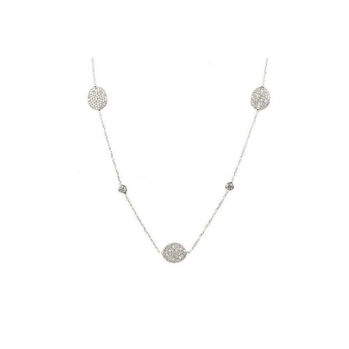 Necklace Long Oval Disc Silver ,[product vendor],JewelStreet